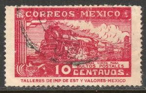 MEXICO Q3, 10cents PARCEL POST, STEAM ENGINE. USED. F-VF (1468)