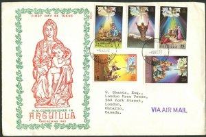 ANGUILLA Sc#163-167 1972 Christmas Complete Set FDC