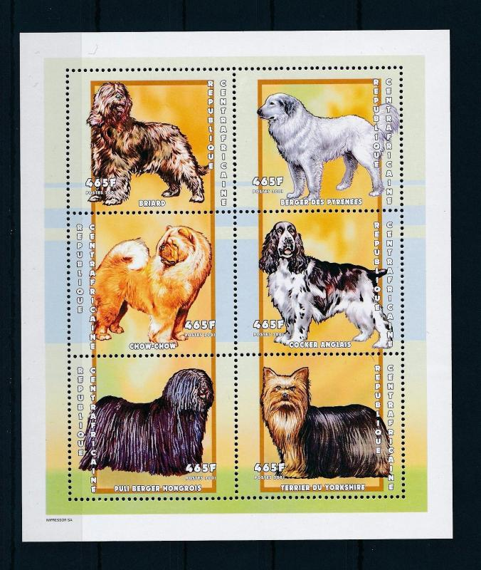 [26953] Central African Republic 2001 Animals Dogs MNH Sheet