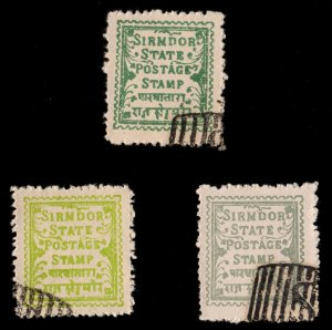 3 SIRMOOR INDIAN STATE  Stamps ALL DIFFERENT  (C78)