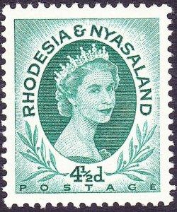RHODESIA & NYASALAND 1956 EQII 4½d Blue-Green SG6 MH