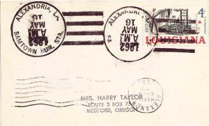 United States Louisiana Samtown Rur. Sta. Alexandria 1962 4-bar  Postcard  Ph...