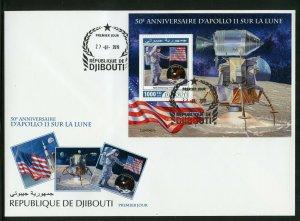Dschibuti 2019 50th Jubiläum von Apollo 11 Mond Landing Souvenir Blatt FDC