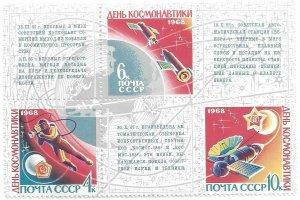1968    RUSSIA   -  SG.  3544 / 3546  SHEETLET  -  COSMONAUTICS DAY   -  MNH