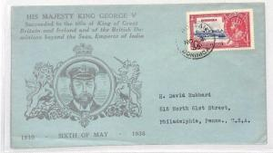 1935 Dominica ILLUSTRATED KGV *Roseau* CDS Silver Jubilee Cover USA ROYALTY BH8