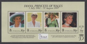 St Helena 711 Princess Diana Souvenir Sheet MNH VF
