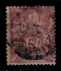 French Indo-China Scott 21 used 1896 5 Franc Navigation & Commerce CV $120