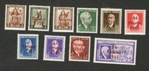 GERMANY OCC ALBANIA - 10 MNH OVERPRINT STAMPS - 1943.