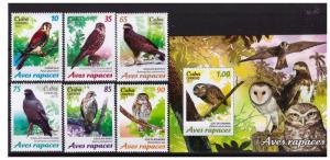 2017 Birds of prey 6 values set+souvenir sheet MNH