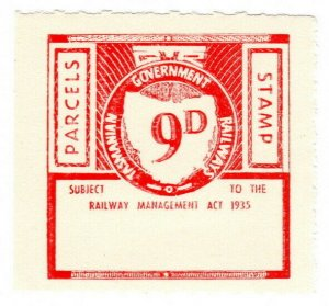 (I.B) Australia - Tasmania Railways : Parcels Stamp 9d
