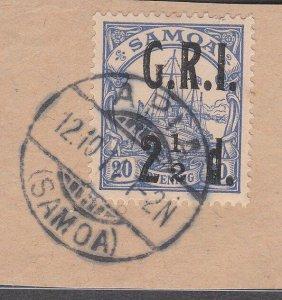 SAMOA 1914 GRI opt on German Samoa : 2½d used on piece Apia cds.............C537