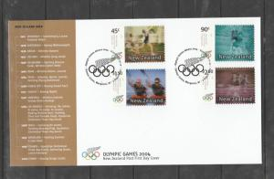 New Zealand FDC 2004 Olympic games Athens Self adhesives SG 2727/30