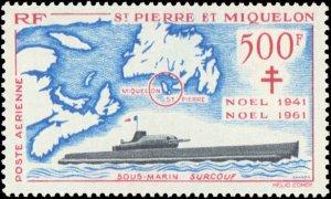 St. Pierre & Miquelon #C25, Complete Set, 1962, Ships, Never Hinged