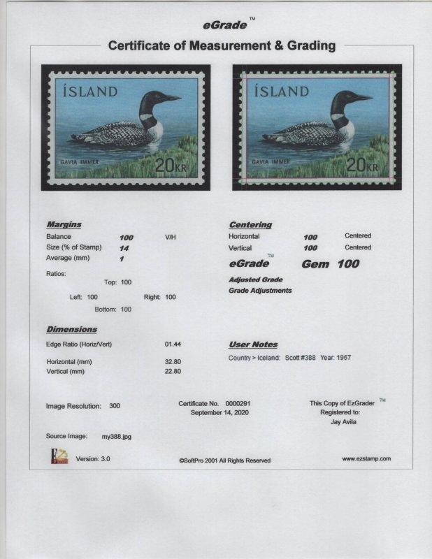 Iceland Scott #388 OG MNH eGRADED With Certificate Superb - Gem 100