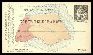 fr019 France Carte-Telegramme 30c Telegraphe Map of Paris card unused