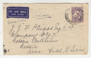 AUSTRALIA, 1935 Airmail cover, Sydney to Neth. East Indies, 9d. Roo.