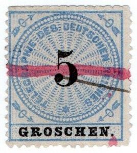 (I.B) Germany Telegraphs : 5gr Blue & Black (1872)