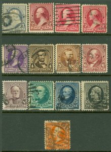 EDW1949SELL : USA 1890-93 Sc #219-20, 220a, 221-29 Used. Small faults. Cat $290.