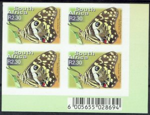 SOUTH AFRICA 2000 BUTTERFLY R2.30 IMPERF BLOCK MNH **