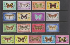 Norfolk Island 1976 Butterfly Set Sc#201-217 MNH & MLH