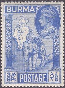 Burma # 69 mnh ~ 3a6p Elephant and Map