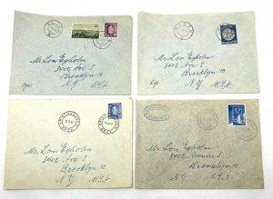 Slitu + Feda + Kristiansund Norway > Brooklyn NY 4 1950s airmail covers