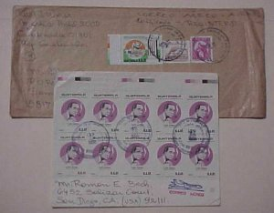 GUATEMALA  10 or MORE STAMPS ON EACH OF  2 COVERS 1989,1990 ONE REGISTERED