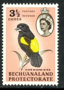 BECHUANALAND PROTECTORATE 1961 3 1/2c  Cape Widow Bird Issue Sc 183 MNH