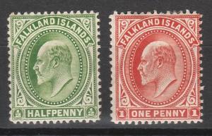 FALKLAND ISLANDS 1902 KEVII 1/2D AND 1D WMK UPRIGHT