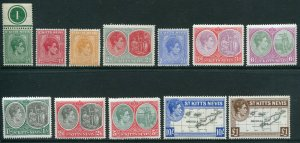 St Kitts and Nevis Scott 79-90 Mint Hinged 1938-48