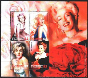 Saint Vincent and the Grenadines. 2004. Small sheet 5987-90. Merelin Monroe, ...