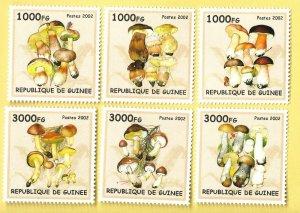 Guinea MNH Set Of 6 Mushrooms 2002