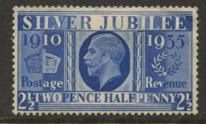 Great Britain - Scott 229 - Silver Jubilee -1934 - MLH - Single 2.1/2p Stamp
