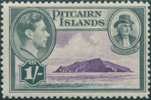 Pitcairn Islands 1940 SG7 1/- Christian and island MLH