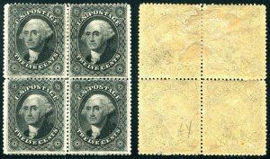 HERRICKSTAMP UNITED STATES Sc.# 36b 12¢ Washington Block of 4 Mint OG