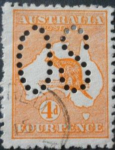 Australia 1913 Four Pence Kangaroo Official SG O6 used