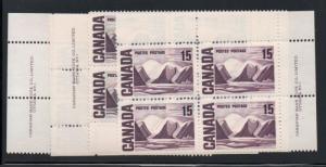 Canada Sc 463 Pl 1 1967 15c Bylot  Island Matched set Plate Blocks mint NH