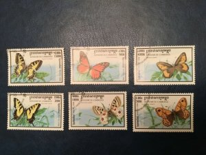 ICOLLECTZONE Cambodia #1721-26 XF Used Butterflies (Bk1-30)
