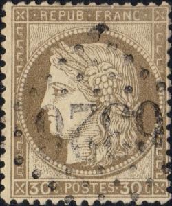 FRANCE - Yv.56 30c brun obl. GC 6326 (Marseille-Place-Centrale) - petits défauts
