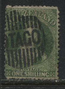 New Zealand QV Chalon Head 1863 1/ deep green use, minor thins