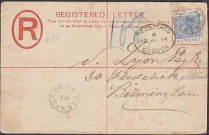 GRENADA 1891 2d Registered cover uprated 2½d used to UK...................54748