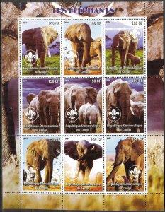Congo 2004 Elephants Sheet of 9 MNH Cinderella !