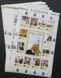EDW1949SELL : TANZANIA 1990 Sc #825-34 Pope John Paul Cplt set of 10 Sheetlets