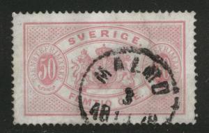 SWEDEN Scott o10 used 1874 official  perf 14 CV$125