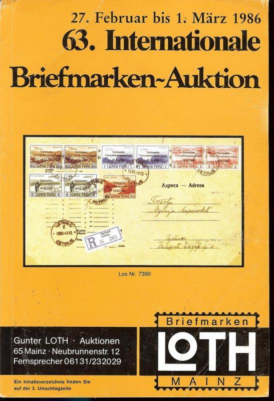 63. Loth-Briefmarken-Auktion: Internationale Briefmarkena...