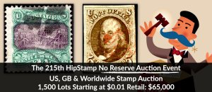 The 215th HipStamp No Reserve Auction Event