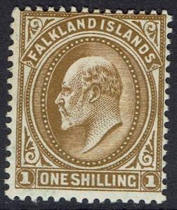 FALKLAND ISLANDS 1904 KEVII 1/-