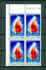 Iceland. 1983 Christmas Stamp 600 Aur. Plate # 011459. Block of 4,Mnh. Sc# 582.