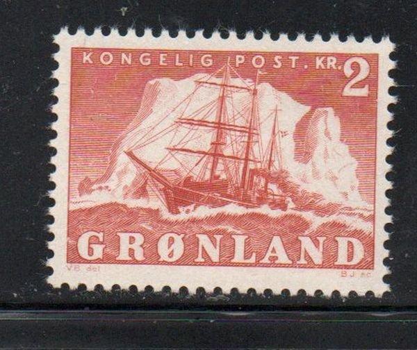 Greenland Sc37 1950 2 kr ship stamp mint NH