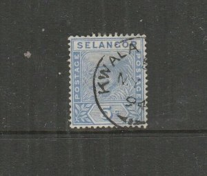 Malaya Selangor 1891/5 5c Tiger, Used SG 52